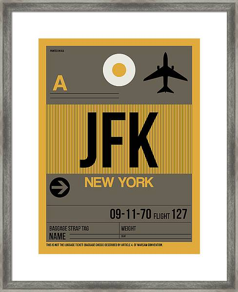 New York Luggage Tag Poster 3 Framed Print