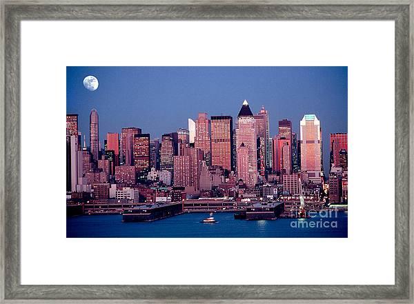 New York Skyline At Dusk Framed Print