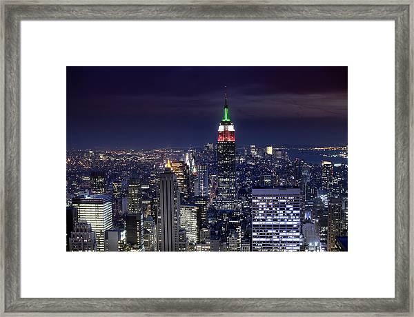 New York Skyline Night Color Framed Print