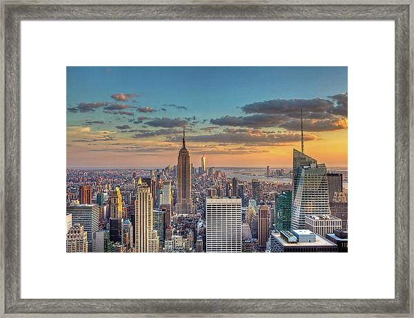 New York Skyline Sunset Framed Print