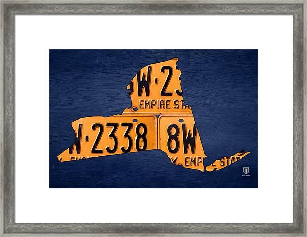 New York State License Plate Map Framed Print