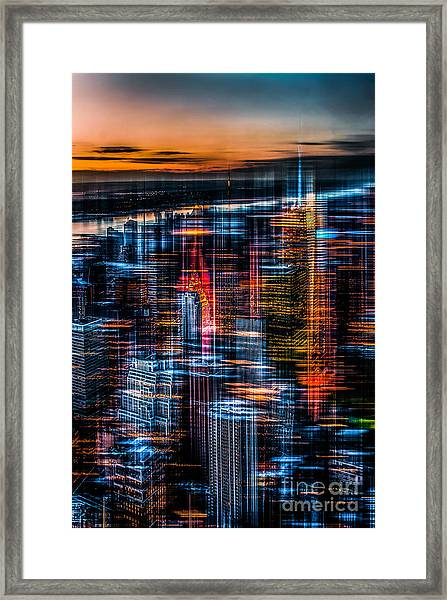 New York- The Night Awakes - Orange Framed Print