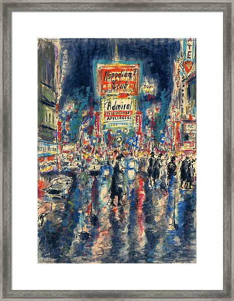 New York Times Square 79 - Watercolor Art Painting Framed Print