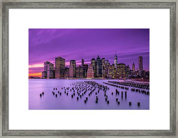 New York Violet Sunset Framed Print by J.g. Damlow
