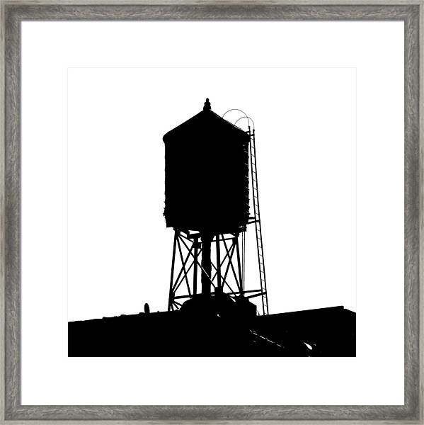 New York Water Tower 17 - Silhouette - Urban Icon Framed Print