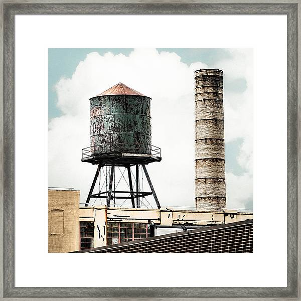 Water Tower And Smokestack In Brooklyn New York - New York Water Tower 12 Framed Print