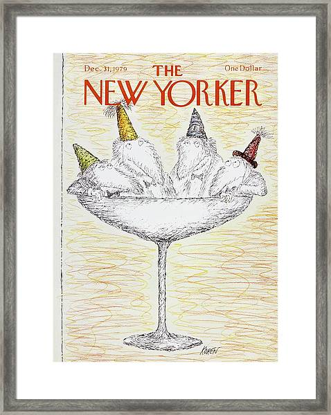 New Yorker December 31st 1979 Framed Print by Edward Koren