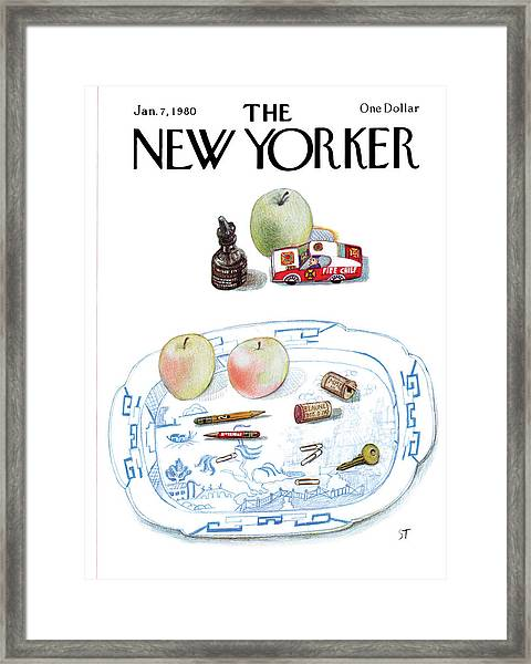 New Yorker January 7th, 1980 Framed Print by Saul Steinberg