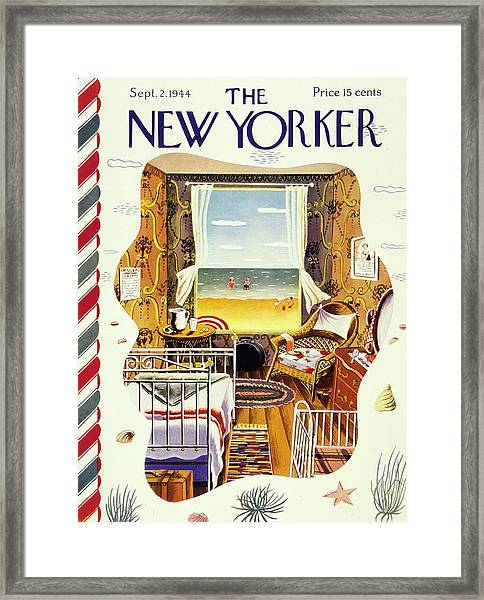 New Yorker Magazine Cover Of A Bedroom By The Sea Framed Print