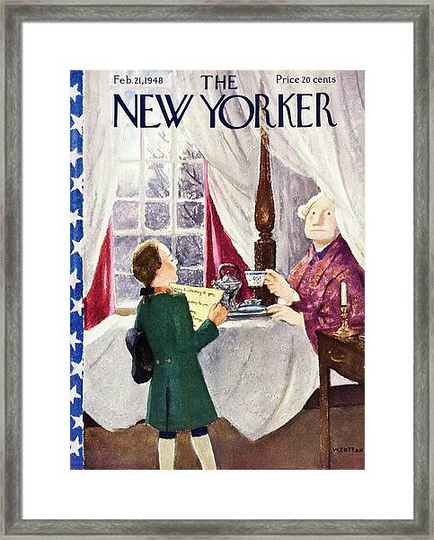 New Yorker Magazine Cover Of A Boy Singing Happy Framed Print by William Cotton