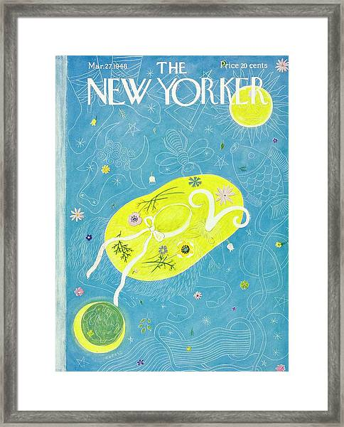 New Yorker Magazine Cover Of A Floral Hat Framed Print