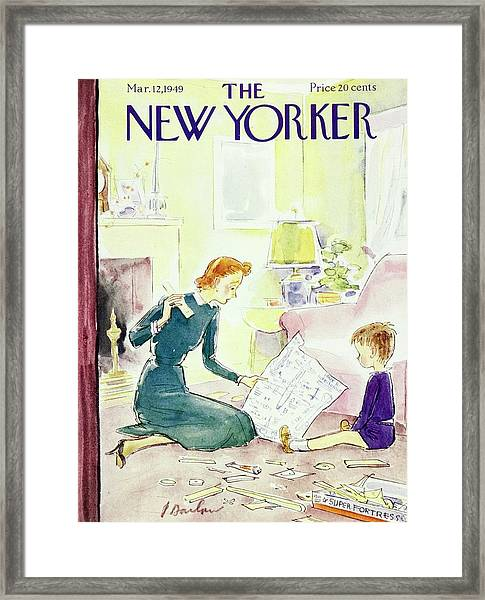 New Yorker Magazine Cover Of A Mother And Son Framed Print by Perry Barlow