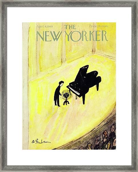 New Yorker Magazine Cover Of A Pianist On Stage Framed Print