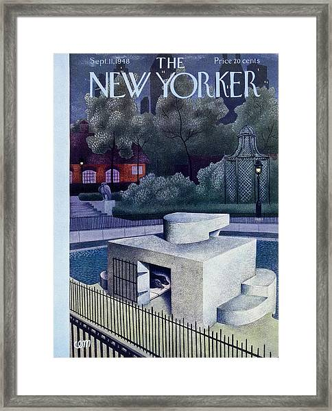 New Yorker Magazine Cover Of A Seal Enclosure Framed Print