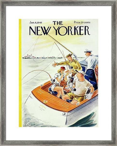 New Yorker Magazine Cover Of A Woman Applying Framed Print