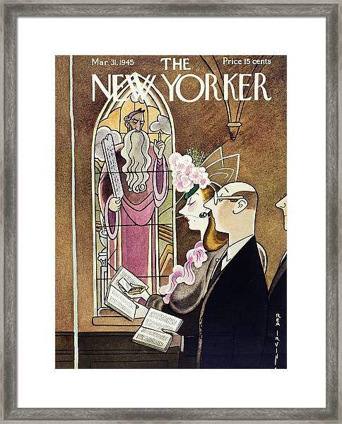 New Yorker Magazine Cover Of A Woman Using Framed Print by Rea Irvin