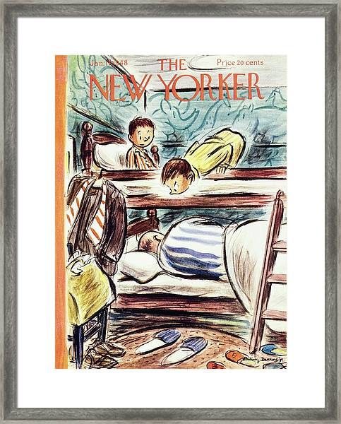 New Yorker Magazine Cover Of Boys Watching Framed Print by Whitney Darrow
