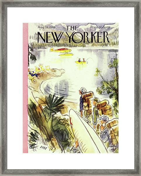 New Yorker Magazine Cover Of Campers Framed Print