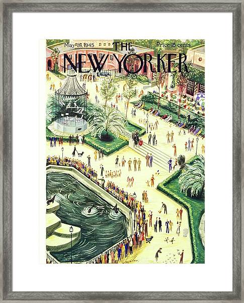 New Yorker Magazine Cover Of Central Park Zoo Framed Print