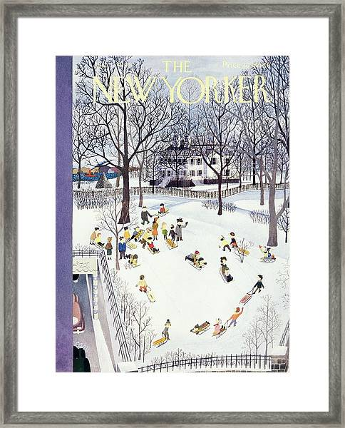 New Yorker Magazine Cover Of Children Sleigh Framed Print