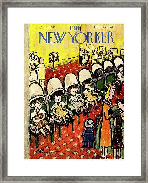New Yorker Magazine Cover Of Girls Under Hair Framed Print