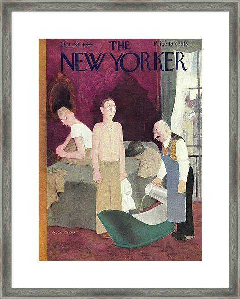 New Yorker Magazine Cover Of Soldiers In A Hotel Framed Print