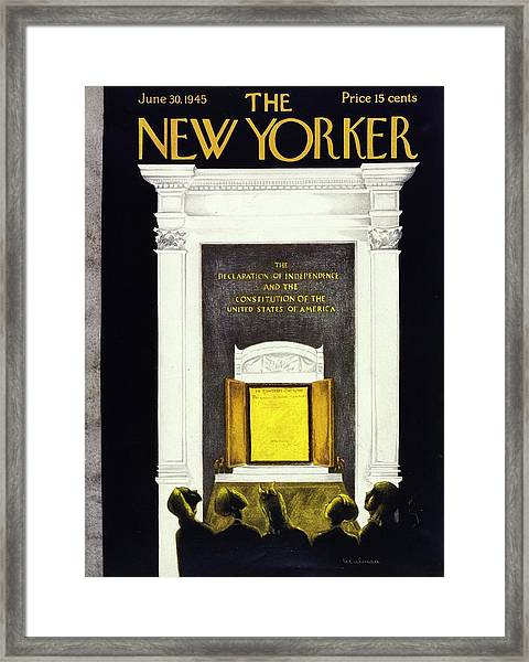 New Yorker Magazine Cover Of The Declaration Framed Print