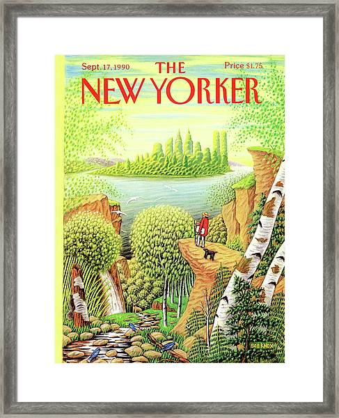 Green New York Framed Print