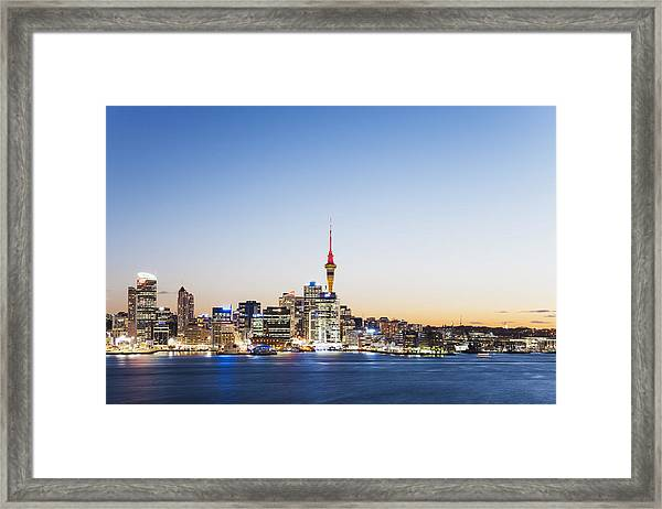 New Zealand, Auckland, Skyline With Sky Tower, Blue Hour Framed Print by Westend61