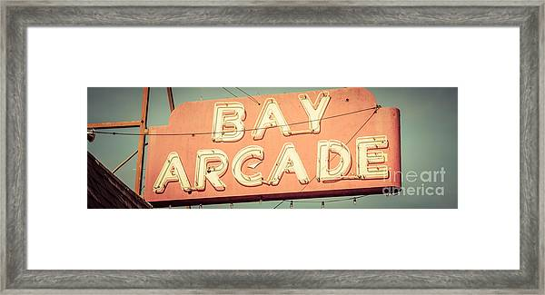 Newport Beach Panoramic Retro Photo Of Bay Arcade Sign Framed Print by Paul Velgos