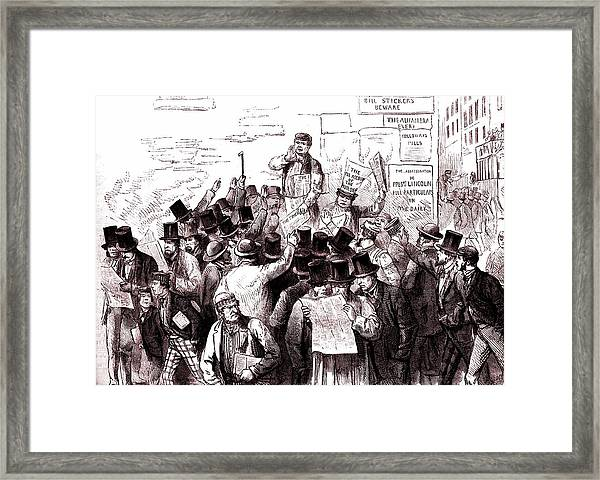 News Breaks Of President Lincoln's Death Framed Print