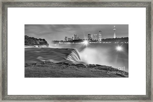 Niagara Falls Black And White Starbursts Framed Print