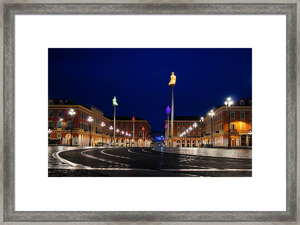 Nice France - Place Massena Blue Hour  Framed Print