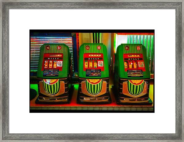 Nickel Dime Quarter Slots Framed Print