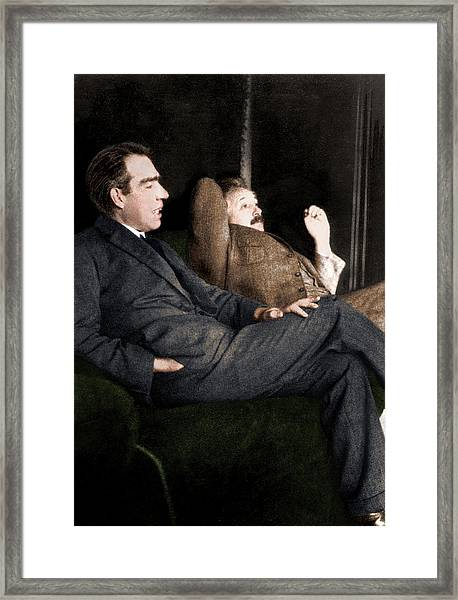 Niels Bohr And Albert Einstein Framed Print by Photograph By Paul Ehrenfest, Copyright Status Unknown. Coloured By Science Photo Library