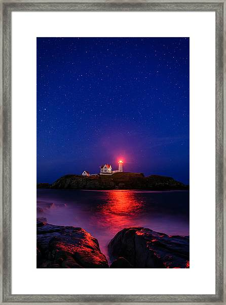 Night At Nubble Light Framed Print