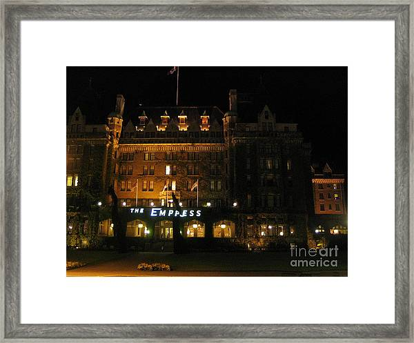 Night At The Empress Hotel Framed Print