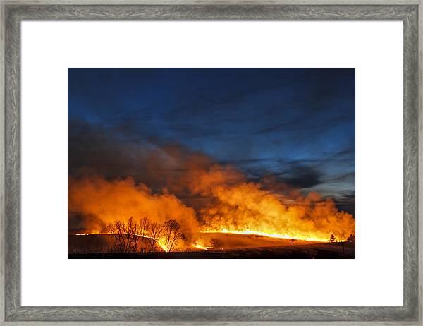 Night Burn In The Flint Hills Framed Print