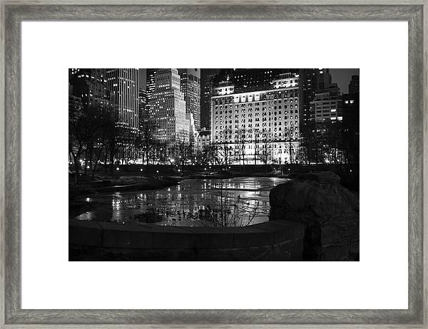 Night Central Park Lake H Framed Print