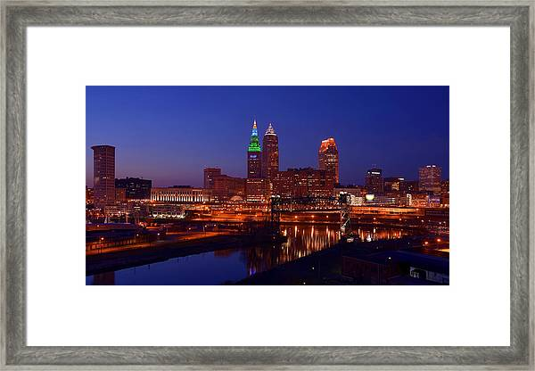 Night Cleveland Skyline From The South Framed Print