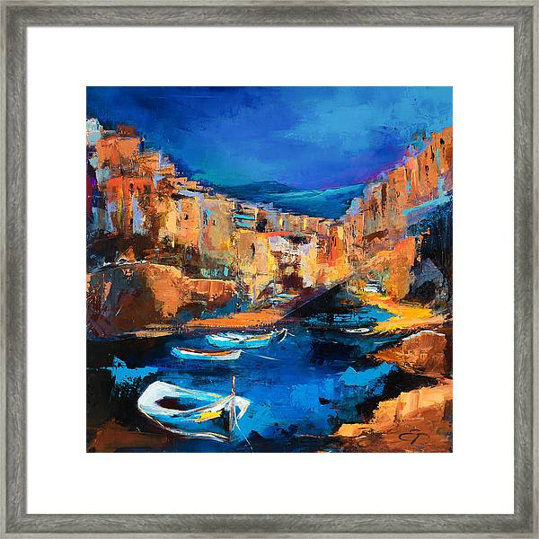 Framed Print featuring the painting Night Colors Over Riomaggiore - Cinque Terre by Elise Palmigiani