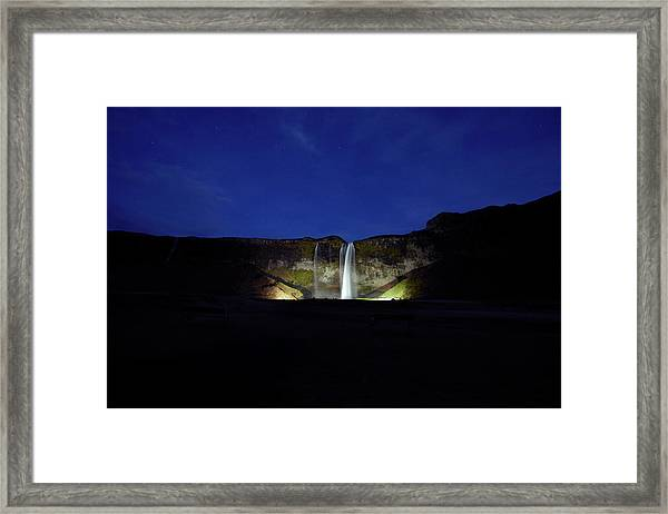Night Shot Of Seljalandsfoss Framed Print