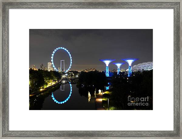Night Shot Of Singapore Flyer Gardens By The Bay And Water Reflections Framed Print