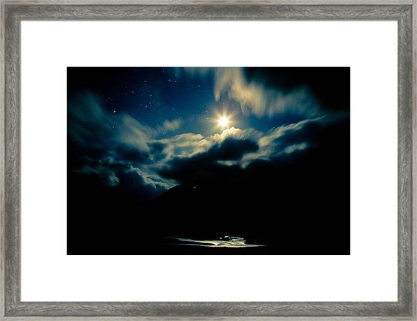 Framed Print featuring the photograph Night Sky And Moon Himalyan by Raimond Klavins
