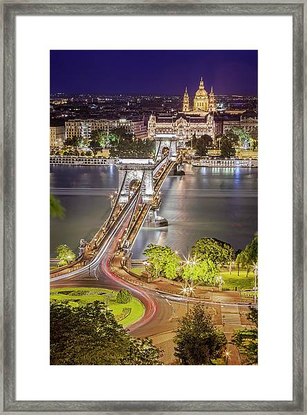 Night View Of Pest From Buda Hill Framed Print