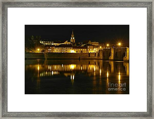 Night View Of The River Tweed At Berwick Framed Print