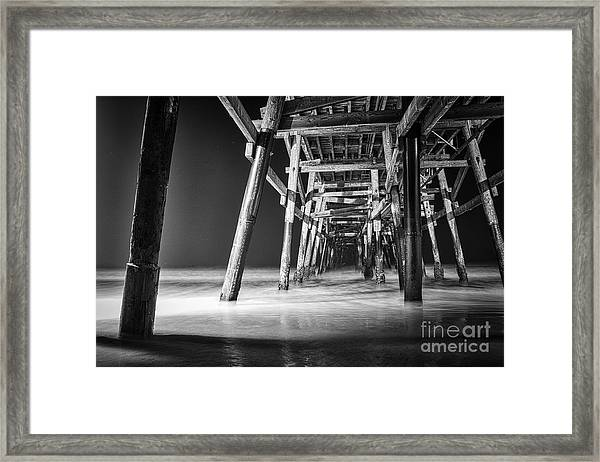 Night View Under San Clemente Pier Framed Print