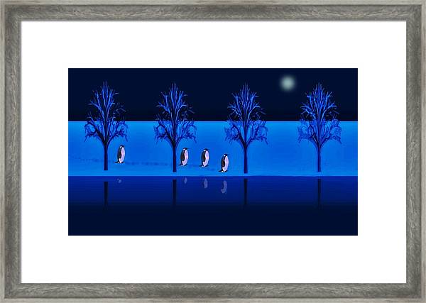 Framed Print featuring the digital art Night Walk Of The Penguins by David Dehner