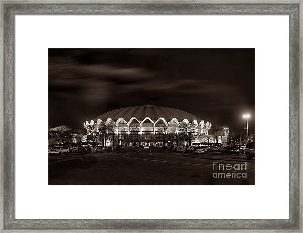 night WVU Coliseum basketball arena Framed Print