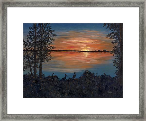 Nightfall At Loxahatchee Framed Print